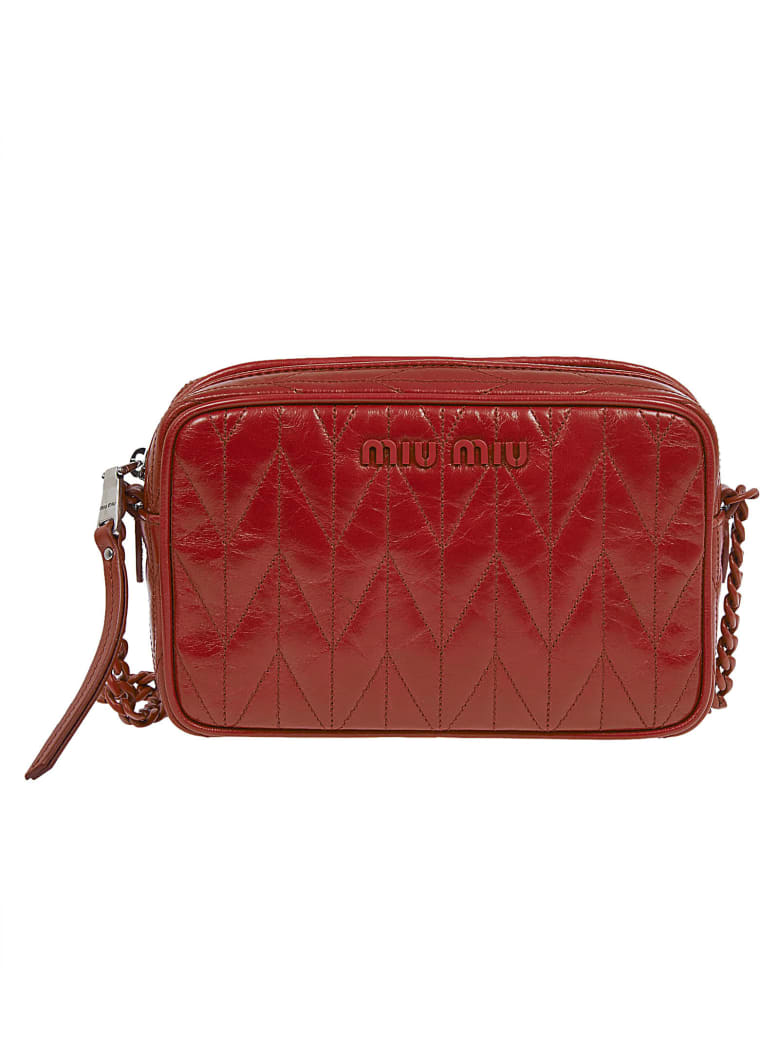 Miu Miu Logo Detail Quilted Shoulder Bag - Red