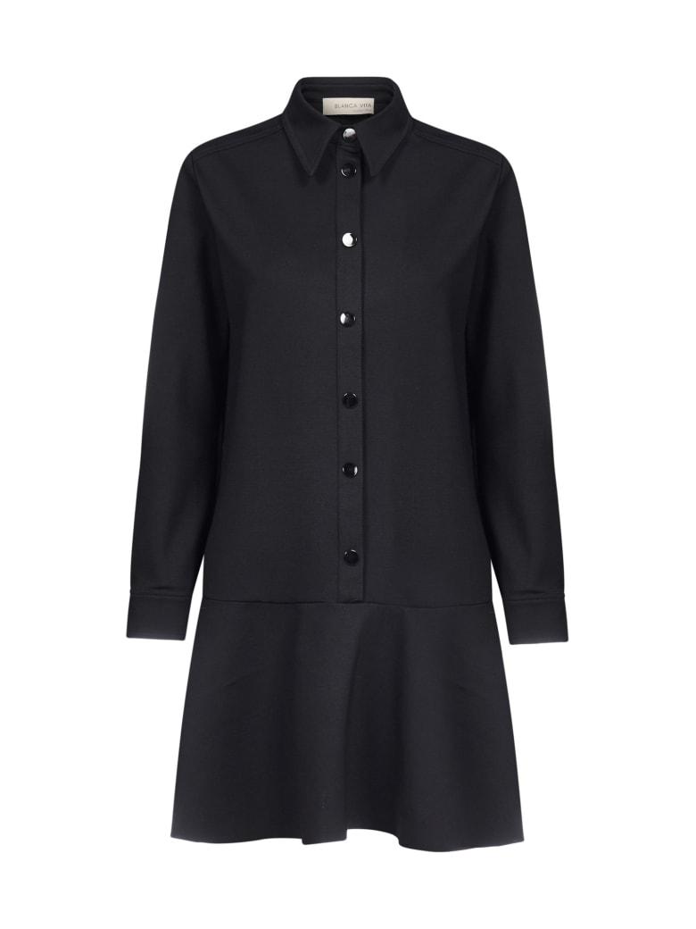 Blanca Vita Anastasia Flounce Shirt Dress - Nero