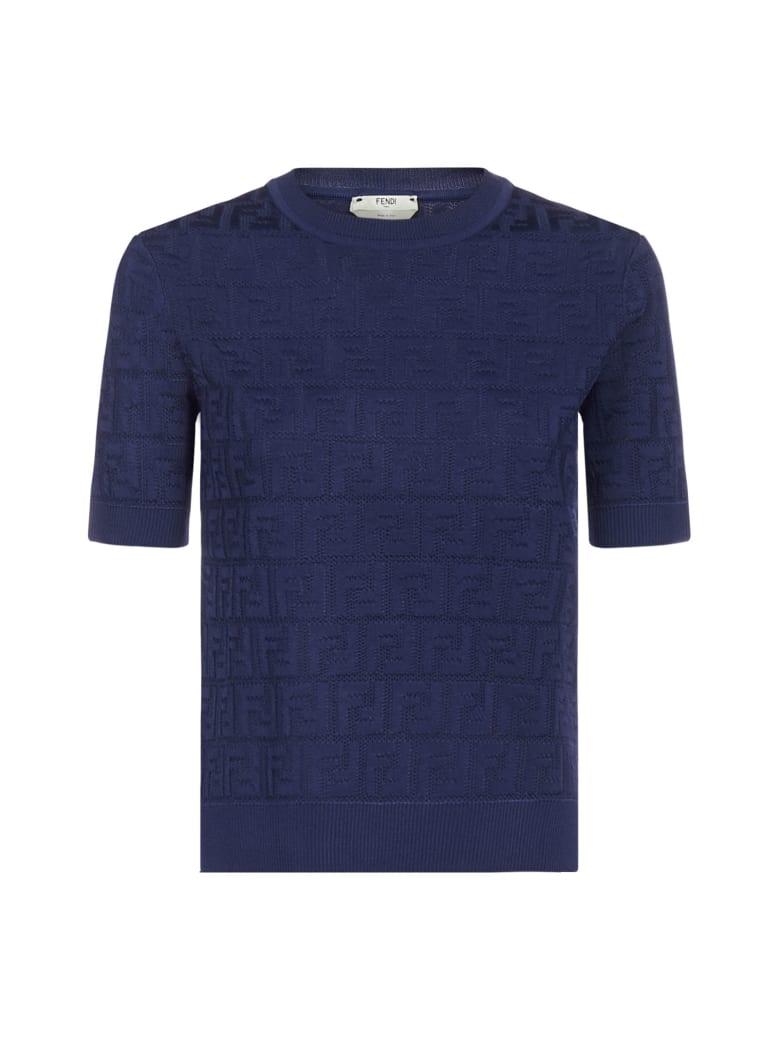 Fendi Ff Jacquard Cotton And Viscose Blend Sweater - Saxophone
