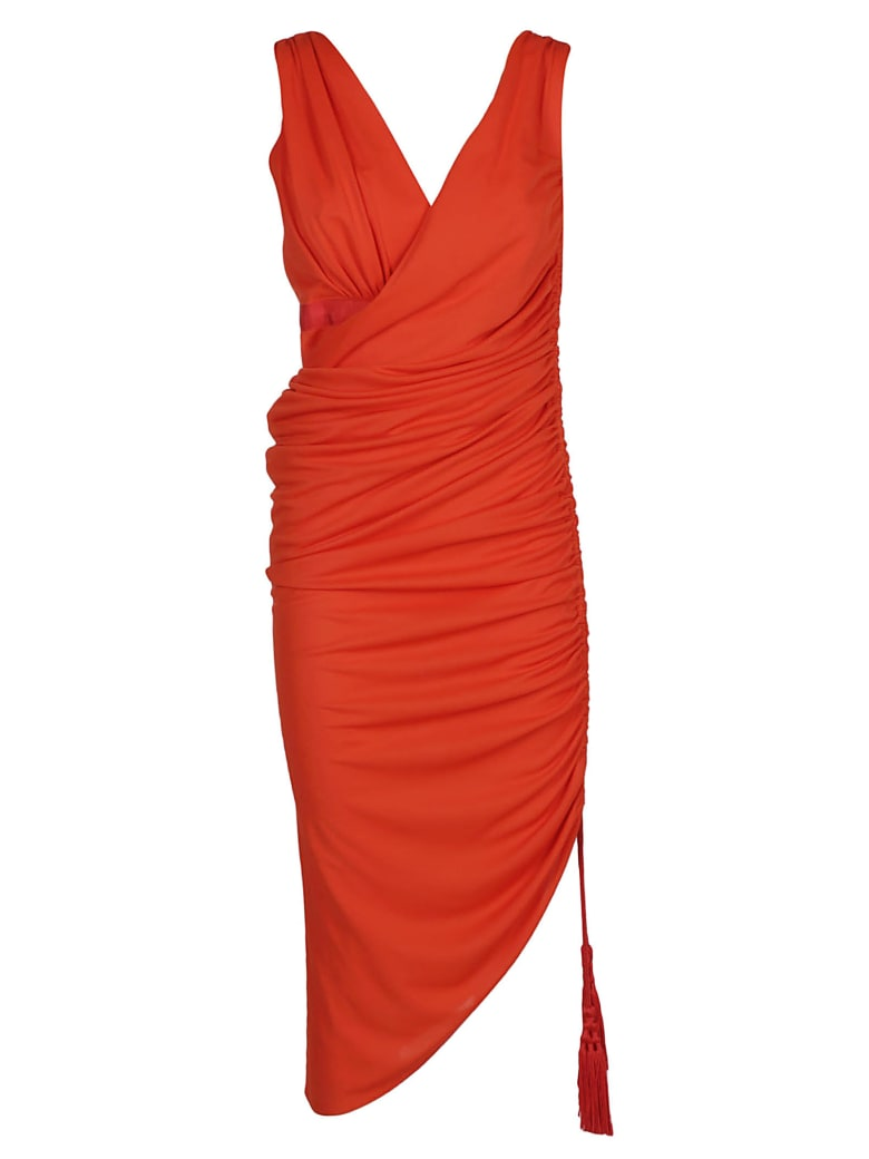 Lanvin Asymmetric Ruched Dress - Red