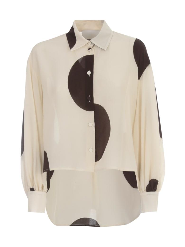 Erika Cavallini Azzurra Silk Shirt W/pois - Stmpw Ivory Pois Printing