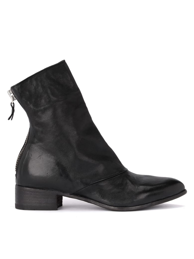 Moma Fox Lack Leather Ankle Boots With Zip - NERO