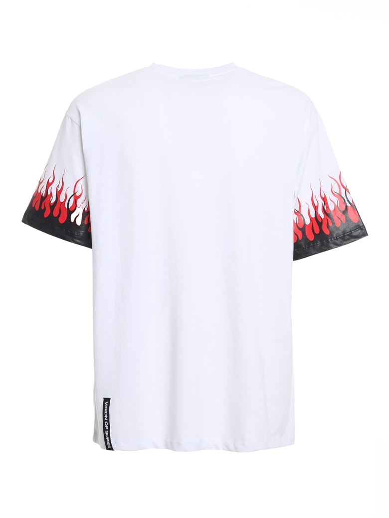 Vision of Super Tshirt Purple Double Flames - White