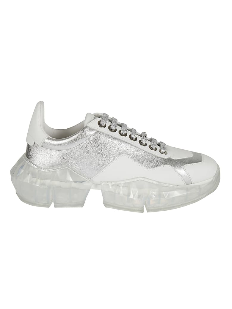 Jimmy Choo Diamond Sneakers - Silver/White