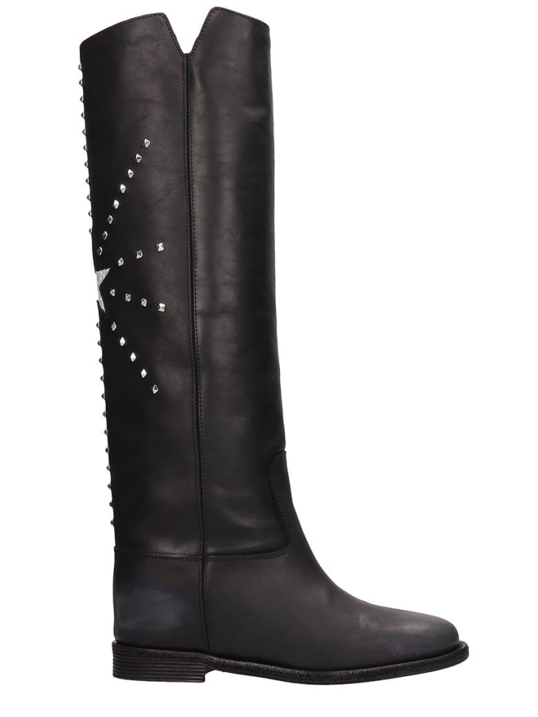 Via Roma 15 Black Calf Leather Boots - black