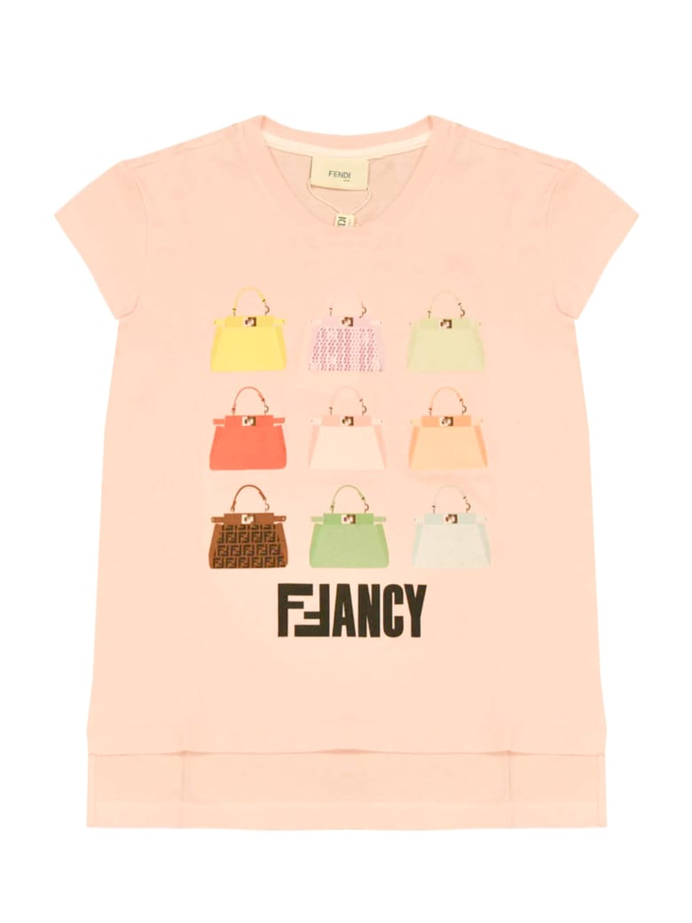 Fendi Pink Teen T-shirt With Multicolor Press - Unica