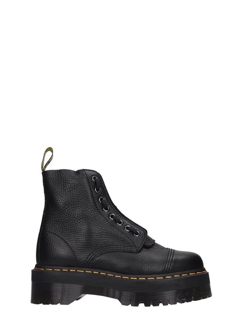 Dr. Martens Sinclair Combat Boots In Black Leather by Dr. Martens