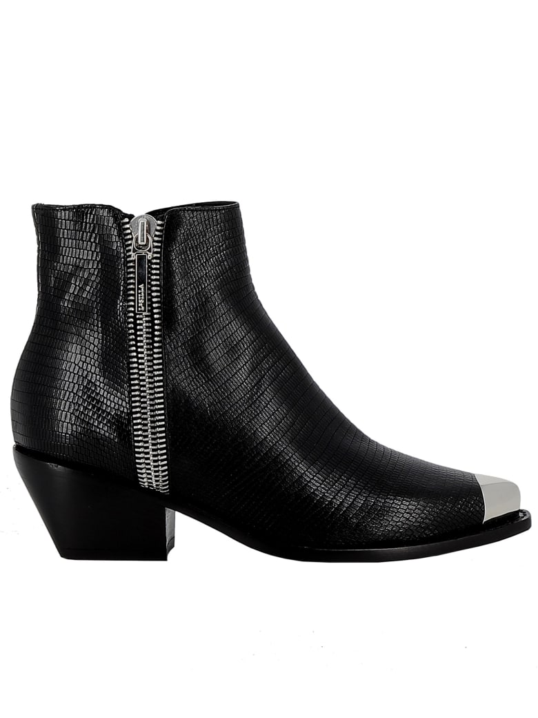 Le Silla Black Leather Ankle Boots - BLACK