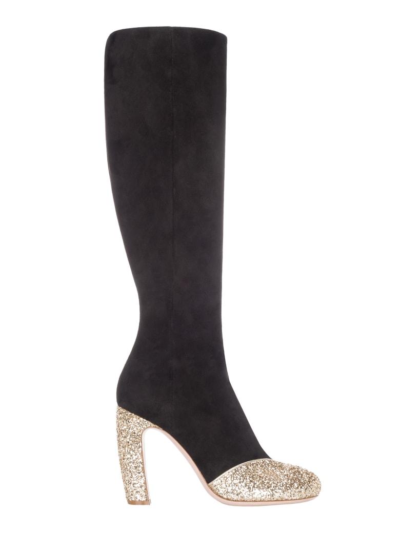 Miu Miu Suede And Glitter Boots - BLACK + GOLD
