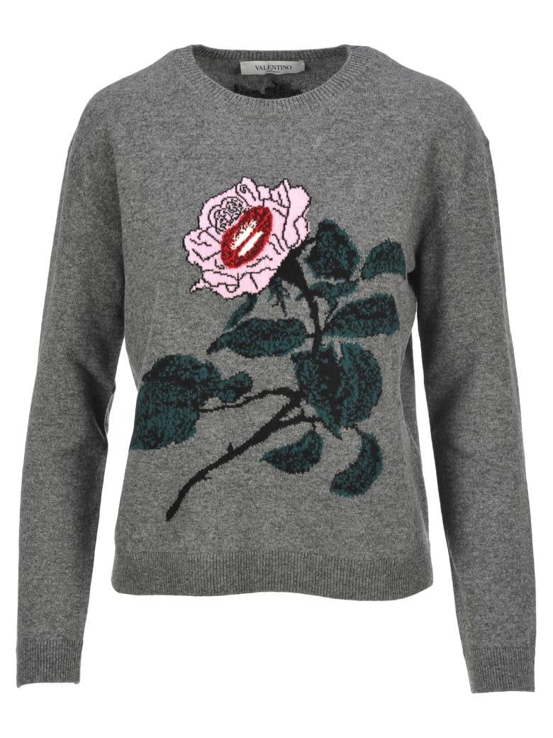 Valentino Rose Embroidered Sweater - GREY