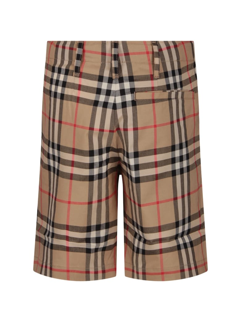 Burberry Beige Boy Short With Iconic Vintage Check - Beige