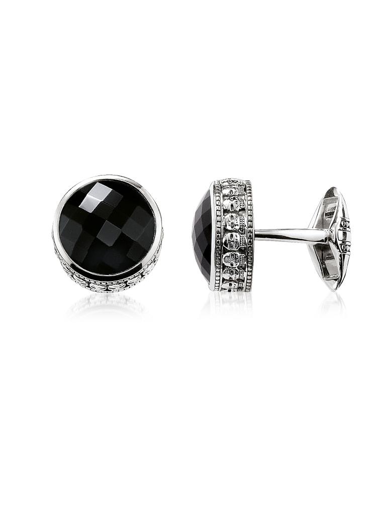 Thomas Sabo Blackened 925 Sterling Silver Skull Cufflinks W/onyx - Silver