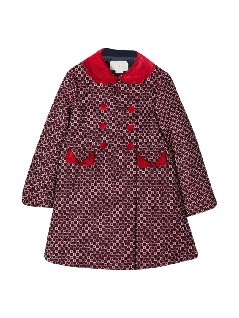Gucci Blue And Red Coat - Blu/rosso