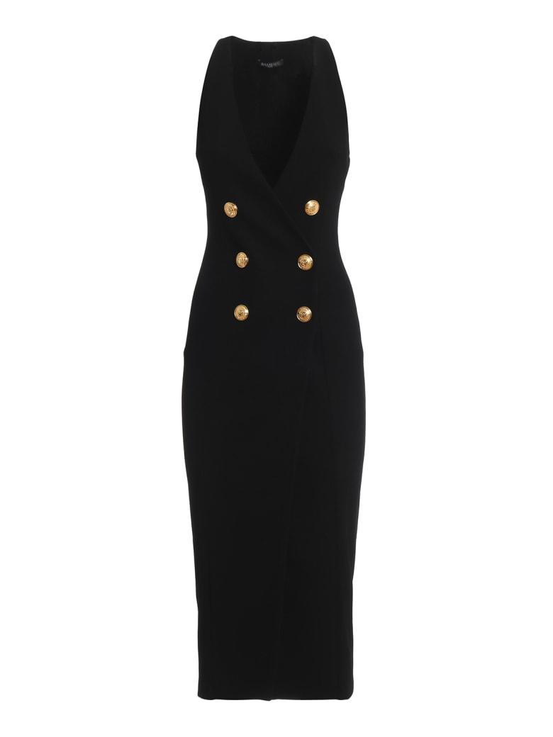 Balmain Double-breasted Sleeveless Black Dress - Black