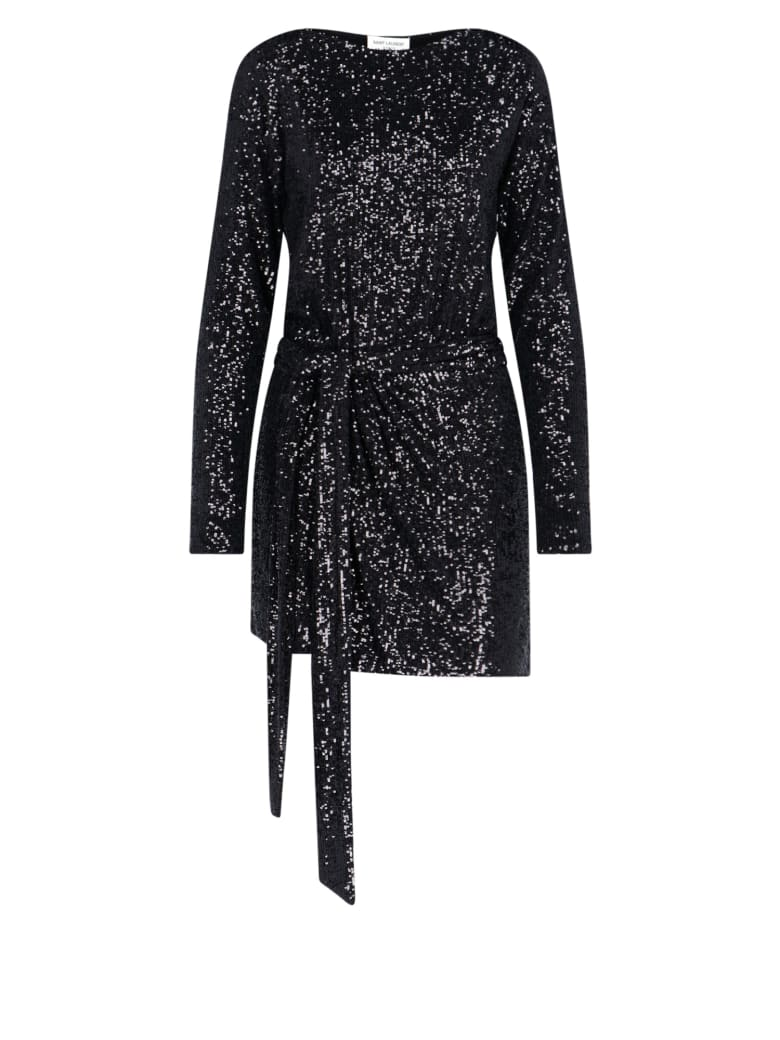 Saint Laurent Sequin Mini Dress - Black