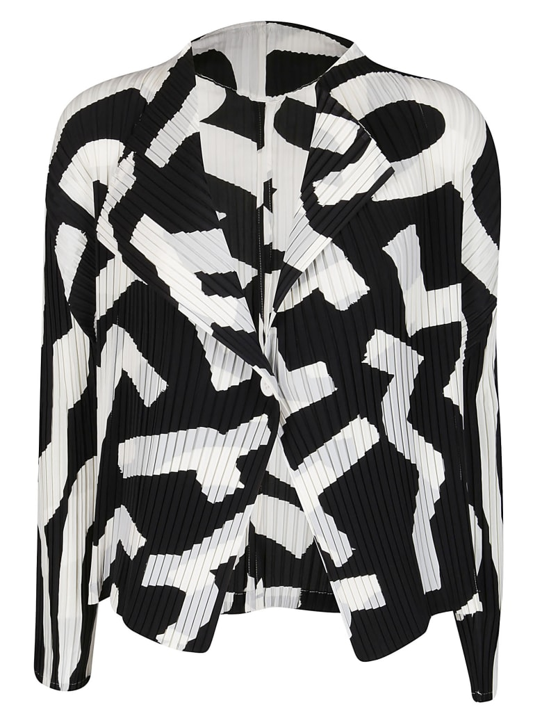 Issey Miyake Black And White Pleated Jacket - BLACK WHITE
