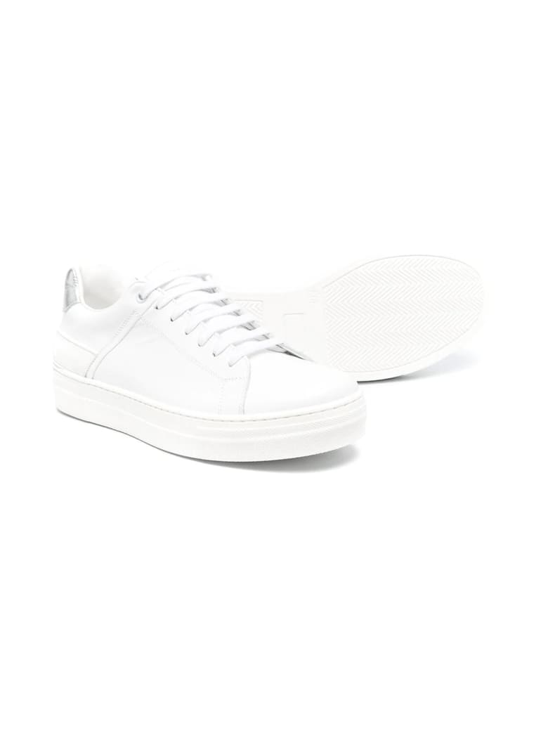 Balmain Sneakers With Logo - Bianco-argento