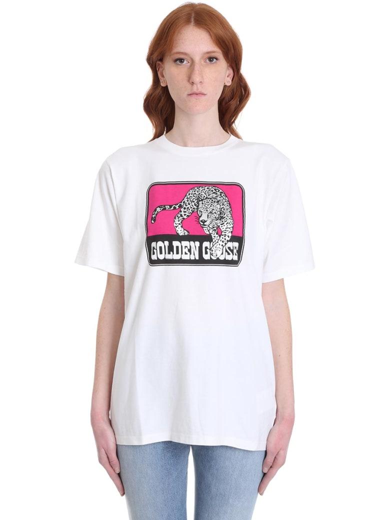Golden Goose Over Var T-shirt In White Cotton - White jaguar