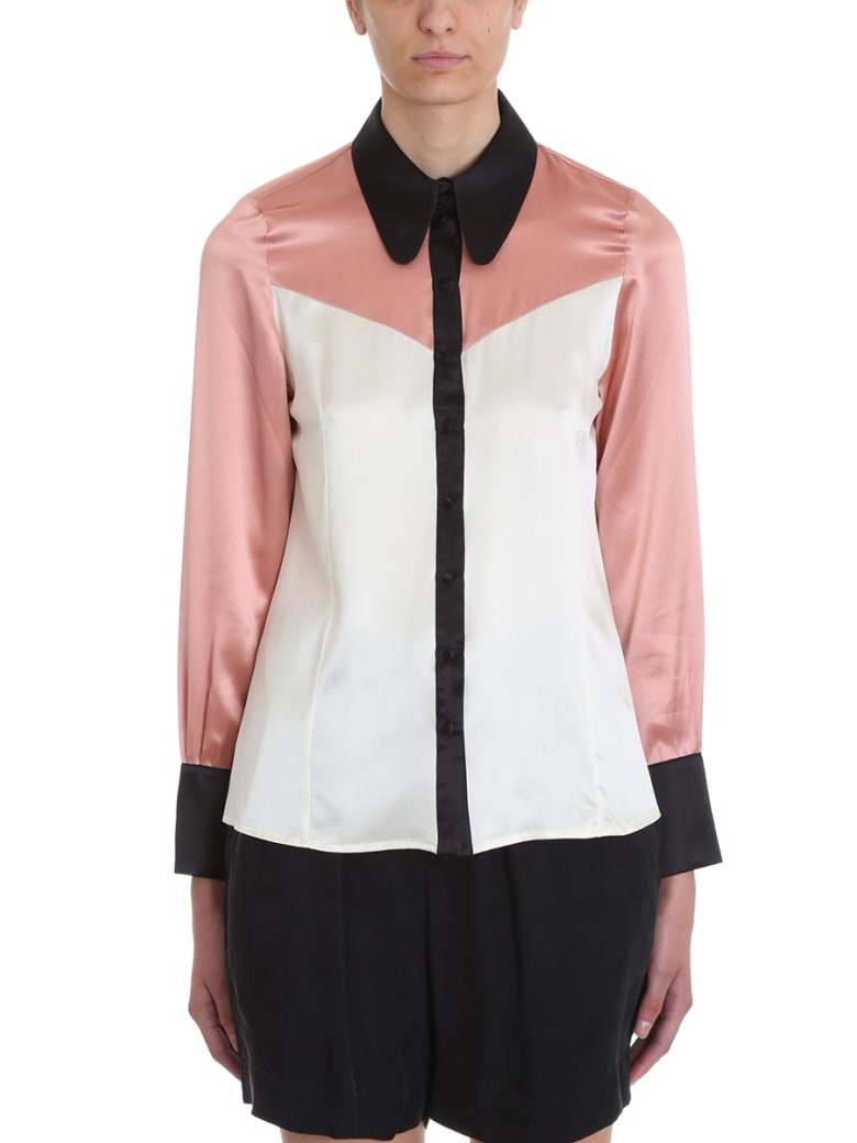 L'Autre Chose Pink White Black Satin Shirt - rose-pink