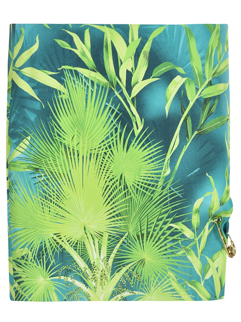 Versace Leaf Printed Skirt - green