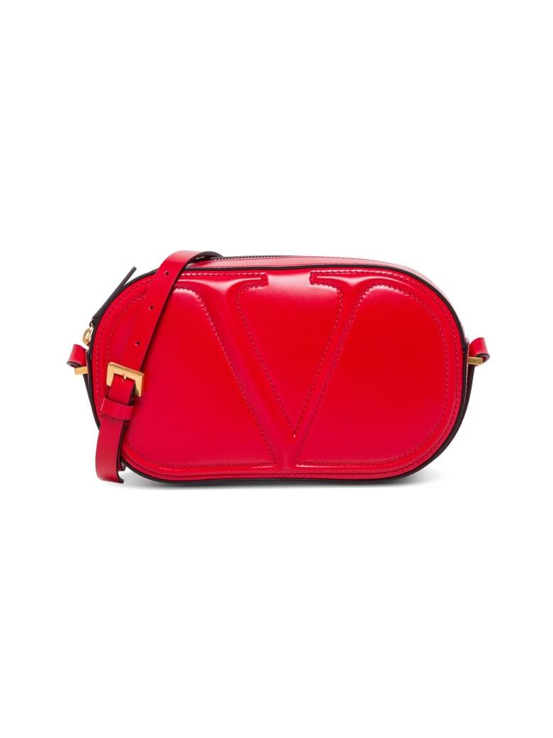 Valentino Garavani Camera V Logo Crossbody Bag In Red Leather - Red