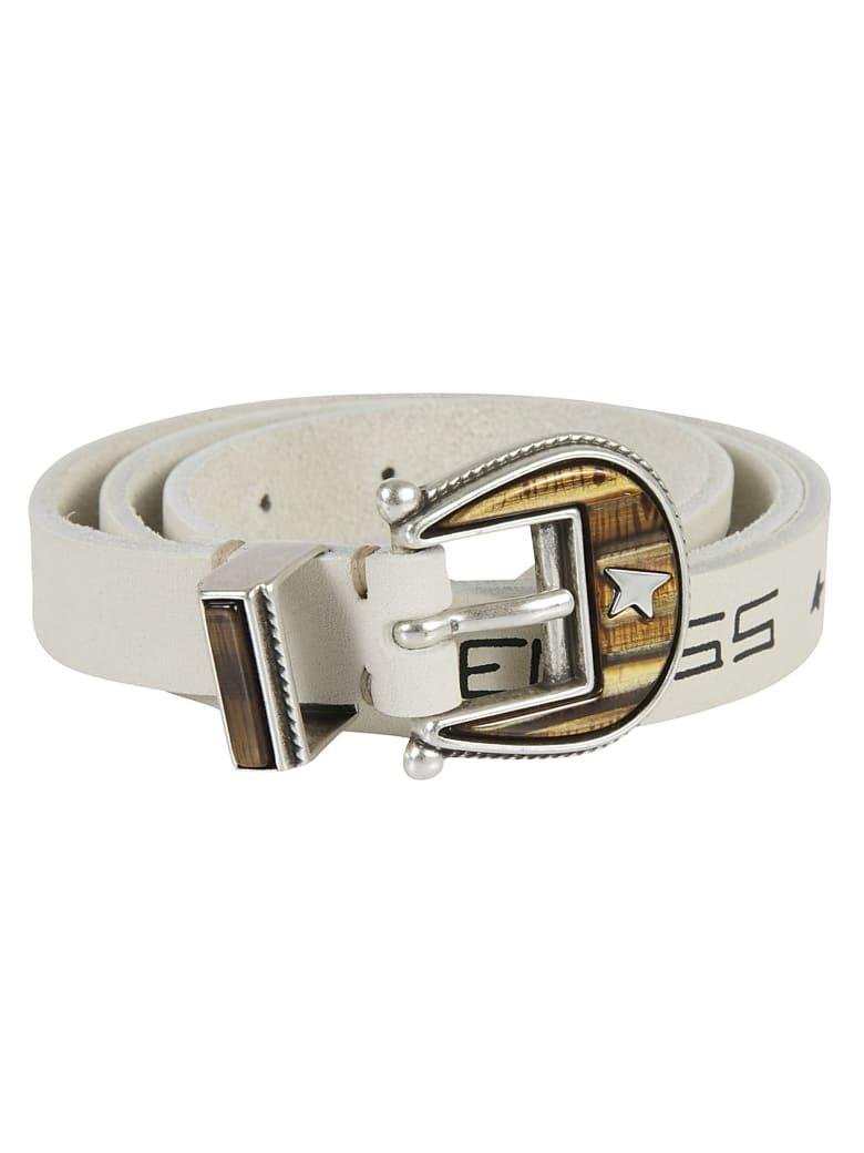 Golden Goose Belt Rodeo Washed Leather Serigraph Belt - Off-White