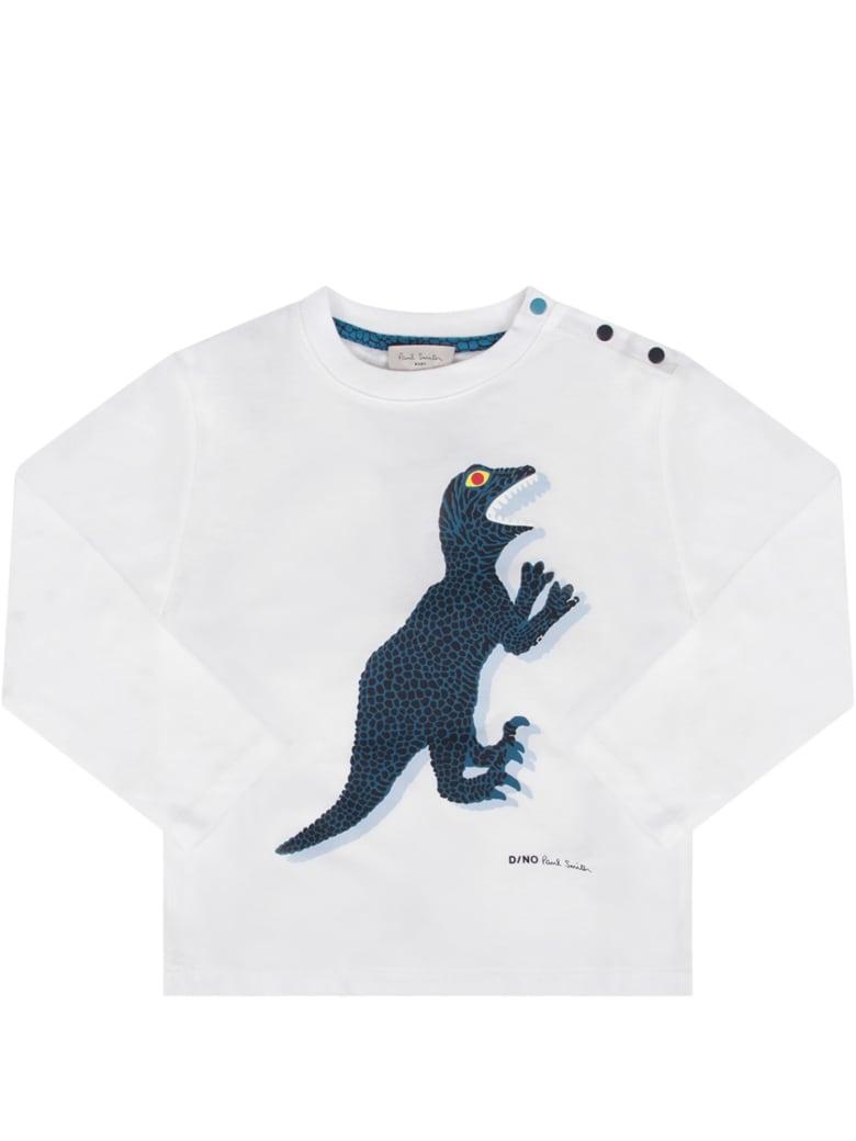 Paul Smith Junior White Babyboy T-shirt With Iconic Dinosaur - White