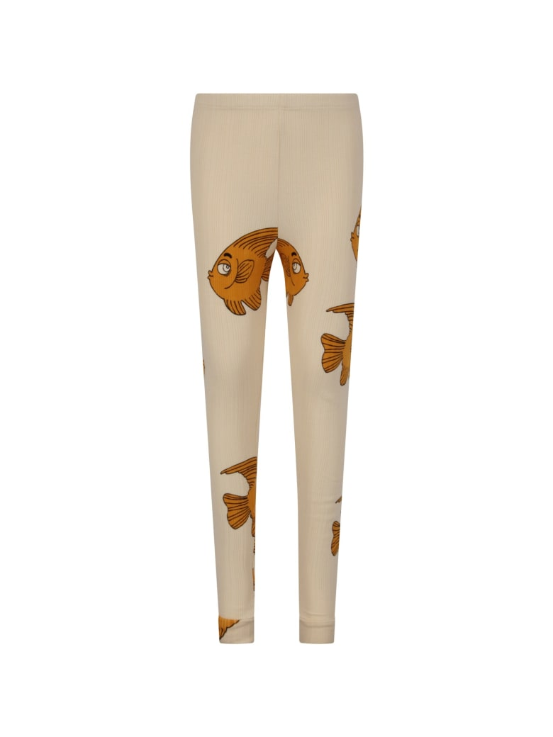 Mini Rodini Ivory Leggings For Kid With Fishes - Ivory