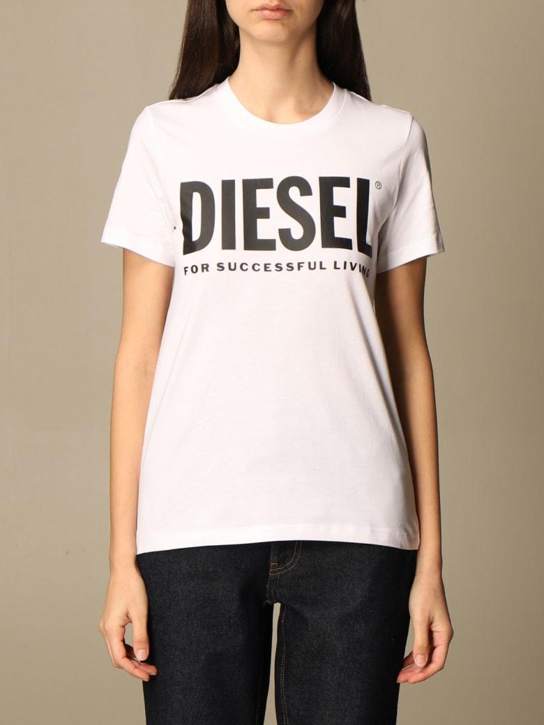 Diesel T-shirt Diesel Cotton T-shirt With Laminated Logo - White