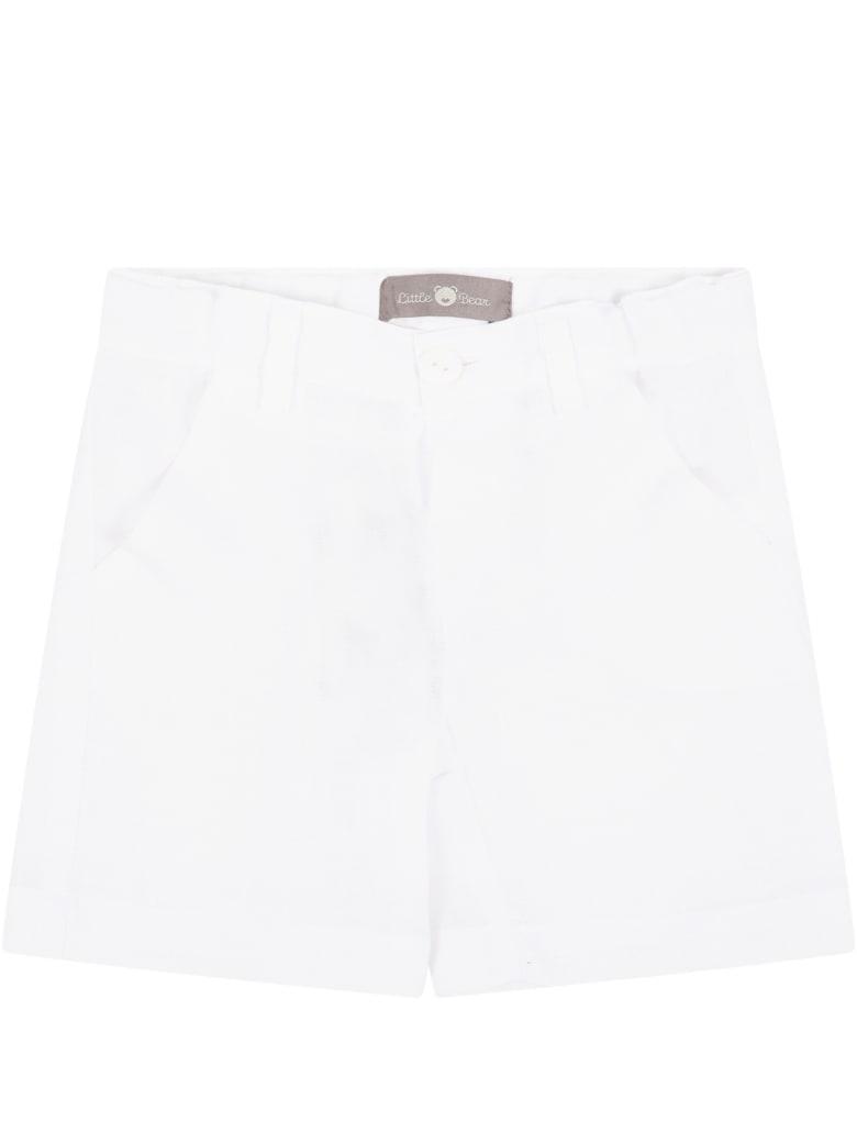 Little Bear White Shorts For Babyboy - White