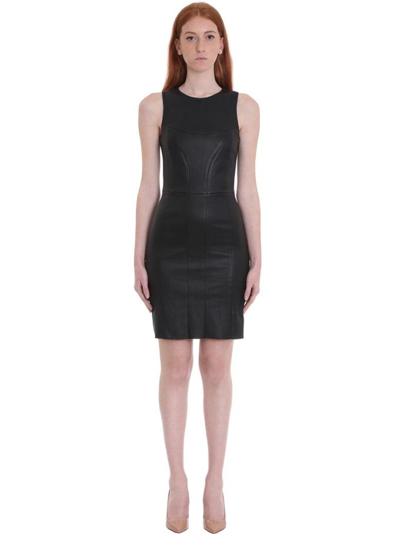 DROMe Dress In Black Leather - black