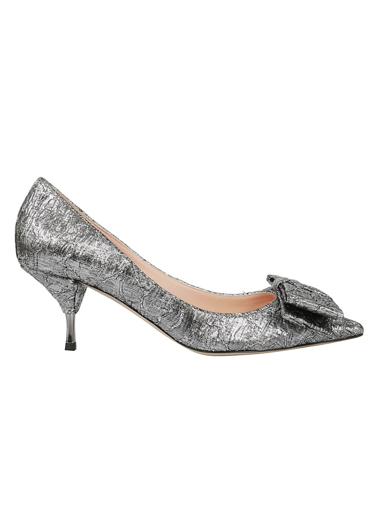 Rochas Bow Detail Pumps - Silver