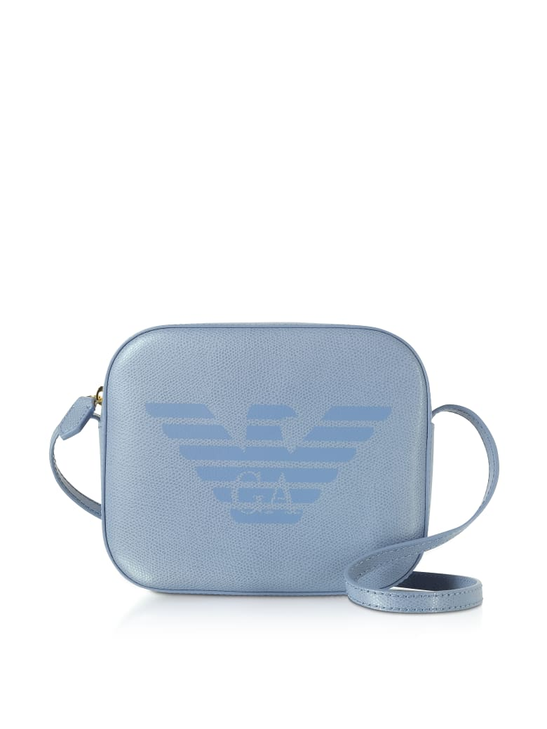 Emporio Armani Eagle Embossed Shoulder Bag - Light Blue