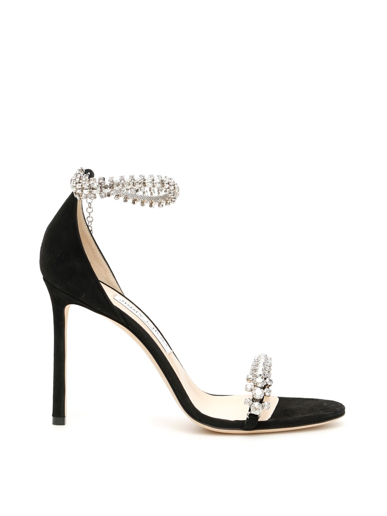 Jimmy Choo Crystal Shiloh 100 Sandals - BLACK (Black)
