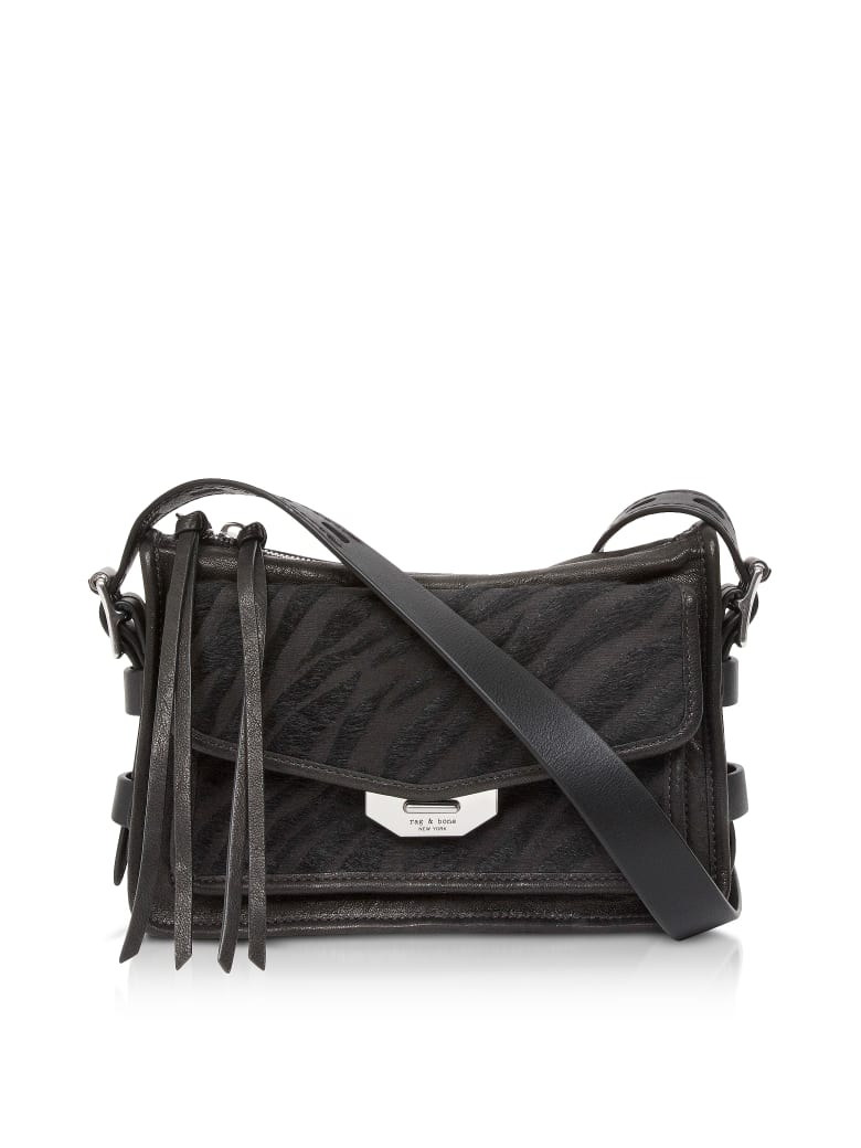 Rag & Bone Black Zebra Small Field Messenger Bag - Black