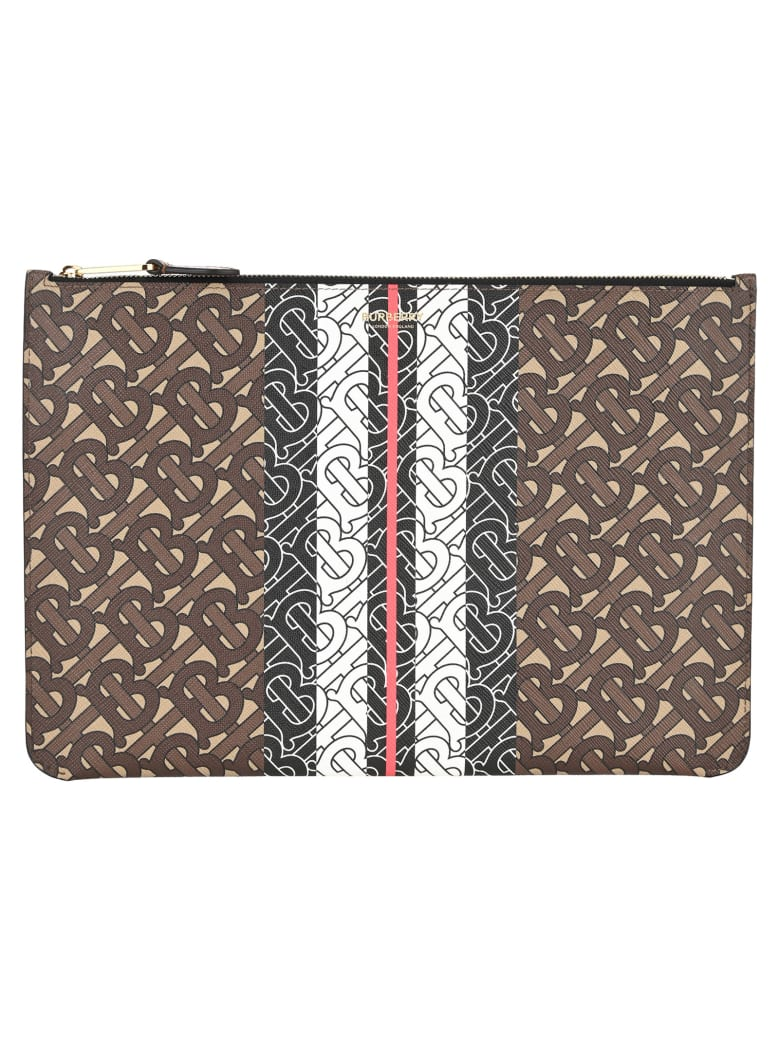 Burberry London Tb Monogram Print Pouch - BRIDLE BROWN TB CHAIN