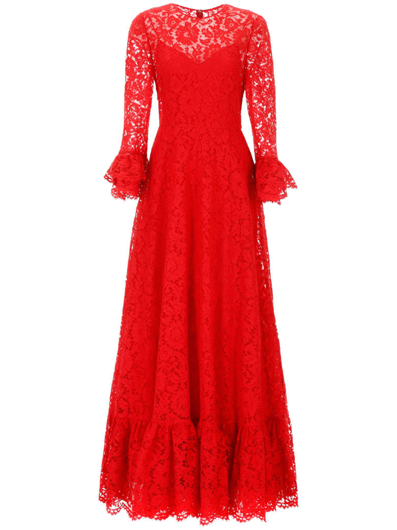 Valentino Long Lace Dress - ROSSO (Red)