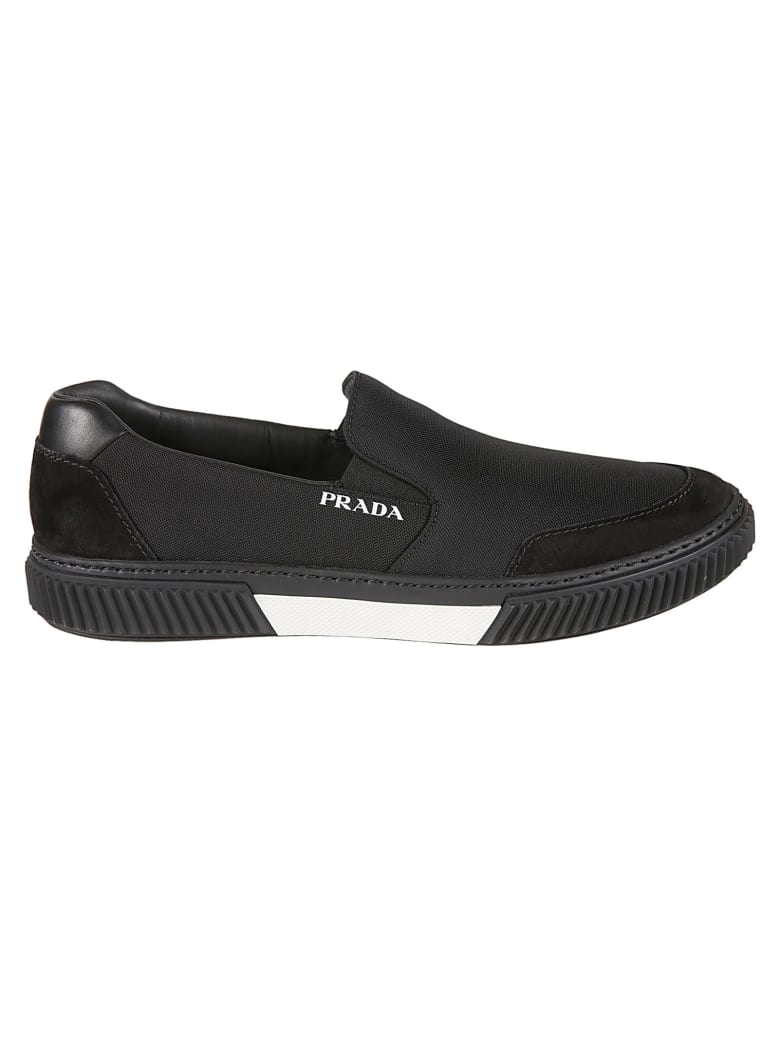 Prada Linea Rossa Side Logo Stitched Detail Loafers - Black/White