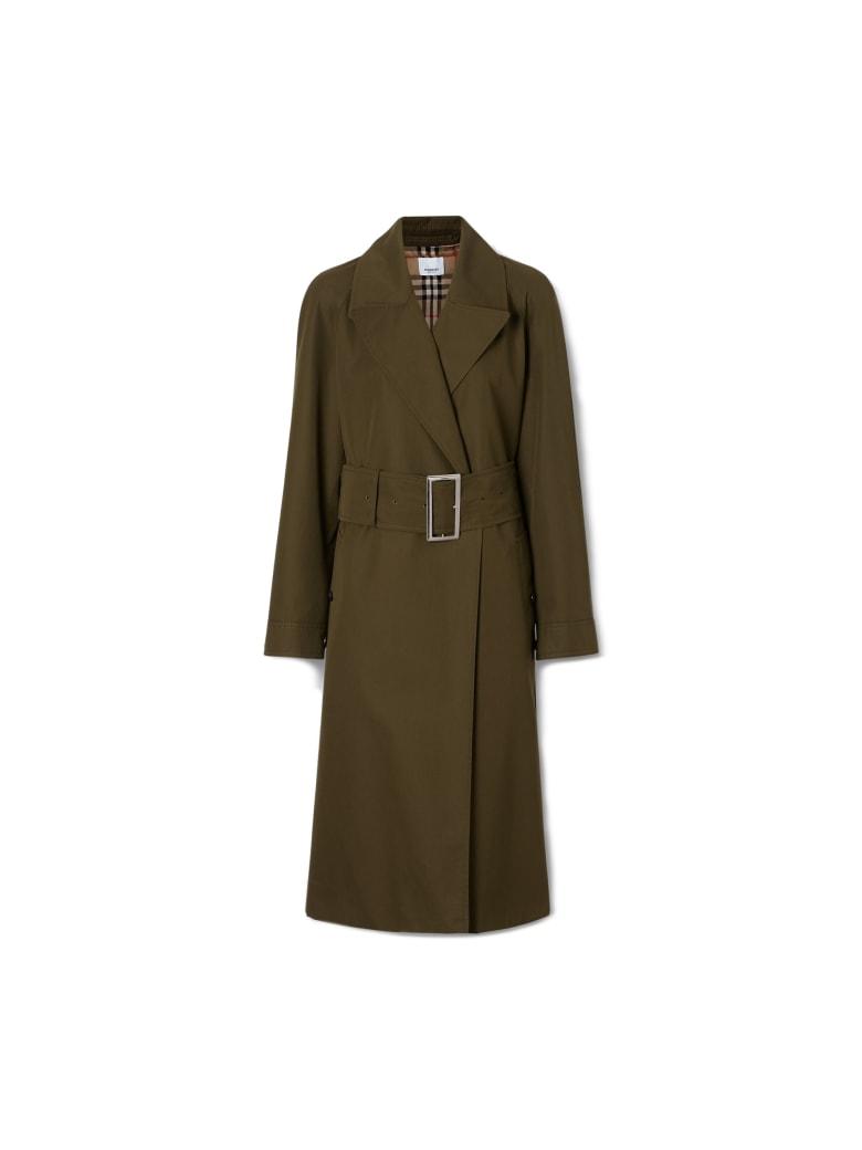 Burberry Camelford Long Cotton Coat - Dark Military Khaki