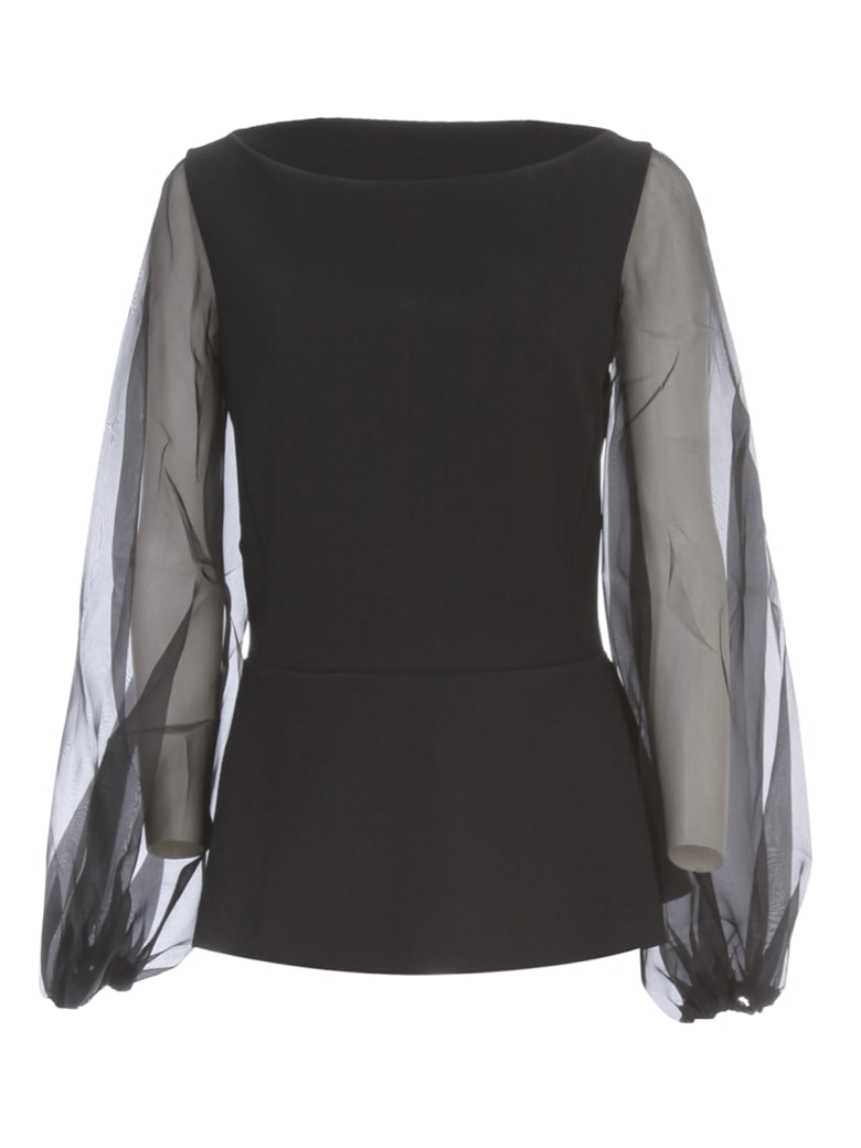 La Petit Robe Di Chiara Boni Top Voille Sleeve - Black