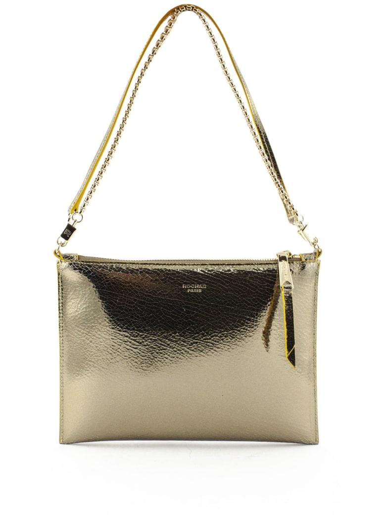 Rochas Gold-tone Mirror Leather Clutch - Oro