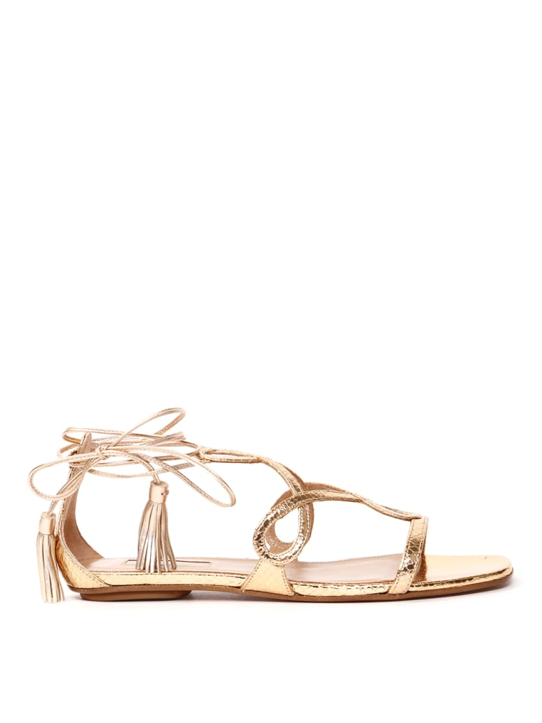 Aquazzura Metallic Leather Flat Sandals With Snake Print - Gold