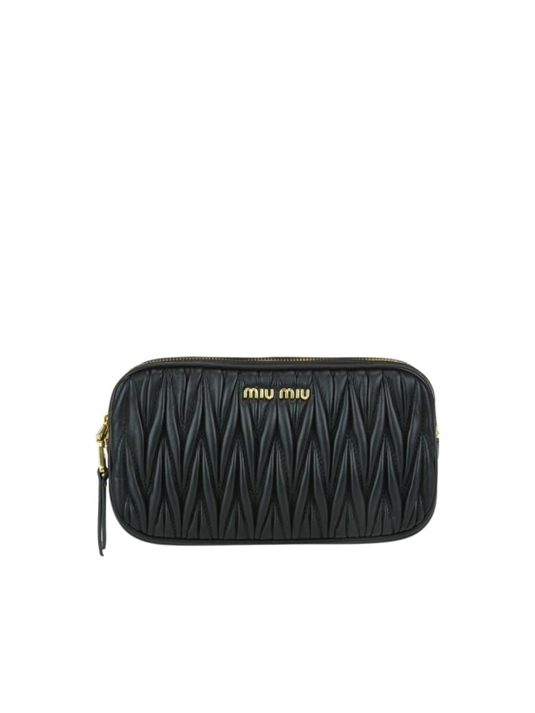 Miu Miu Matelasse' Leather Mini Bag - Black