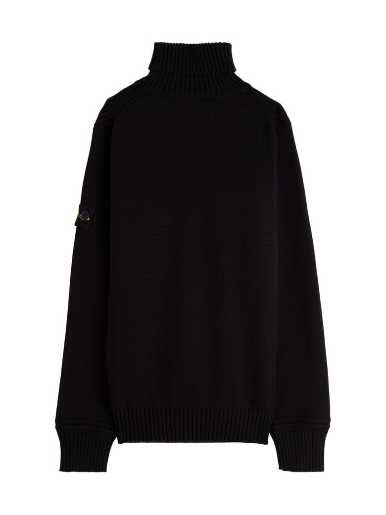 Stone Island Junior Turtleneck Sweater In Cotton Blend With Logo Patch - Black