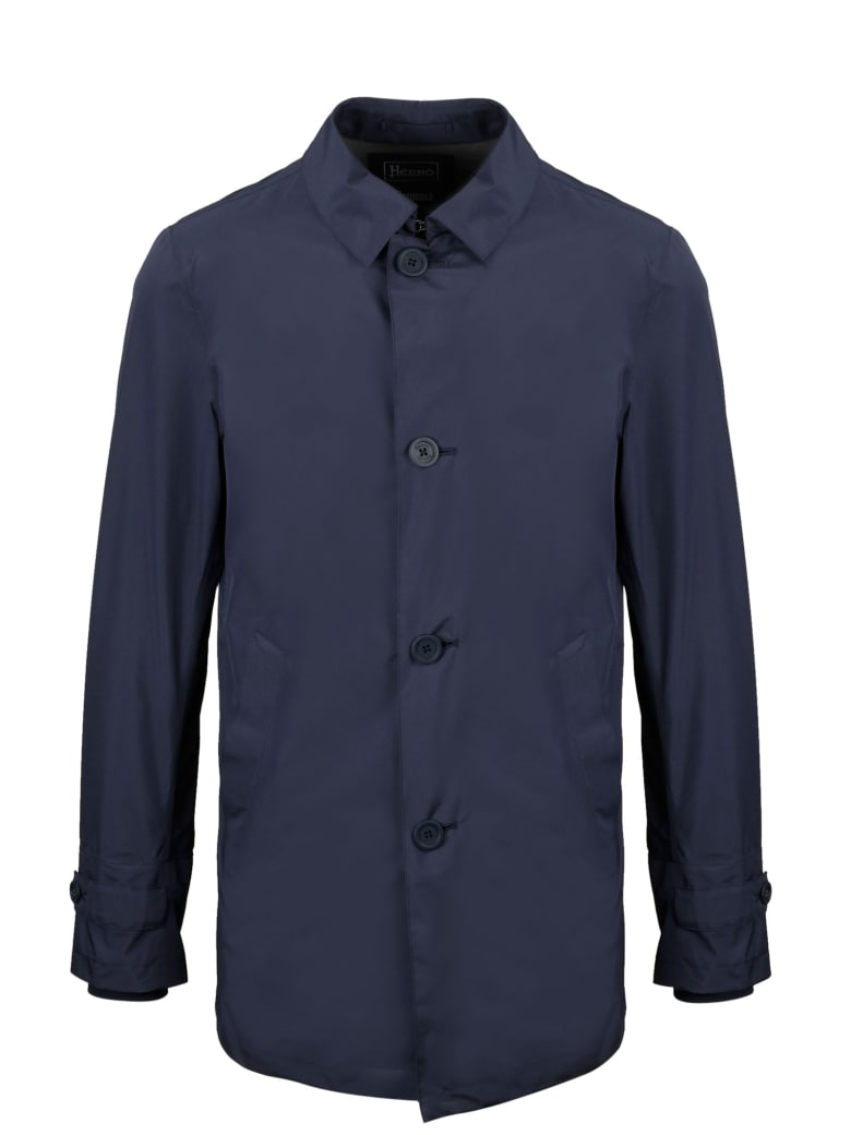 Herno Waterproof Jacket With Foldable Hat - Blue