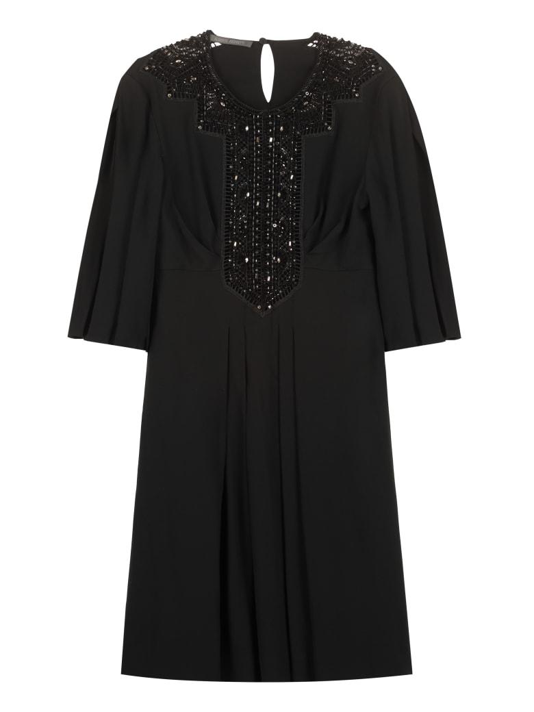Alberta Ferretti Embroidered Dress With Beads - black