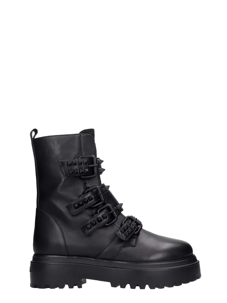Le Silla Combat Boots In Black Leather - black