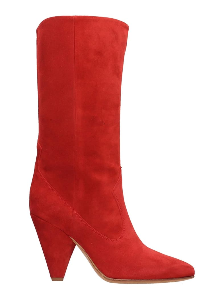 Buttero Red Suede Boots - red