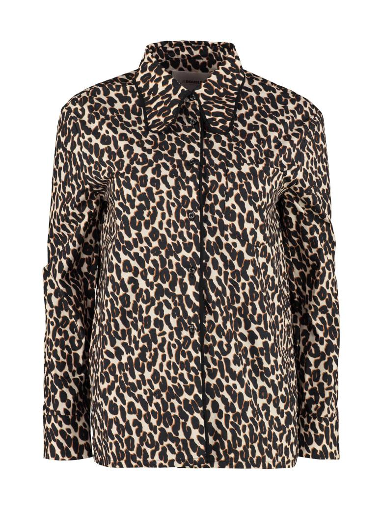 La DoubleJ Leopard Print Poplin Shirt - Beige