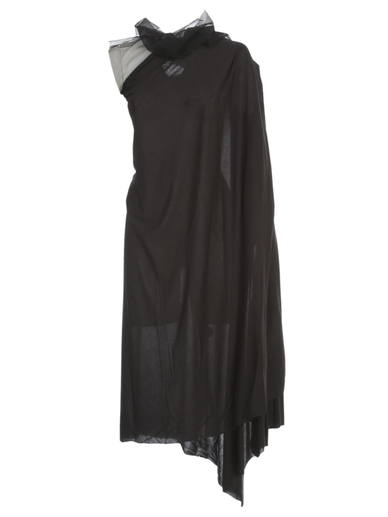 Rick Owens Lilies Dress W/tulle On Neck - Nero